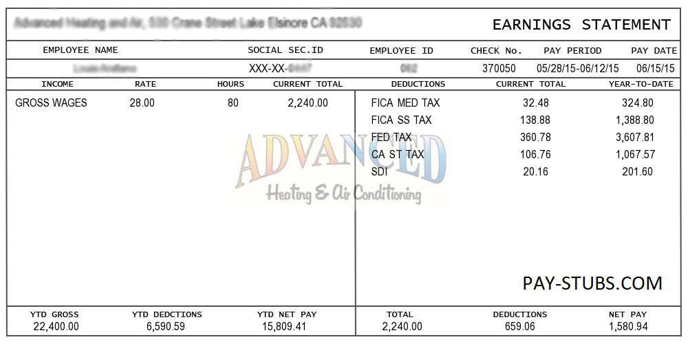 Sample pay stub insrenterprises sample pay stub pronofoot35fo Images