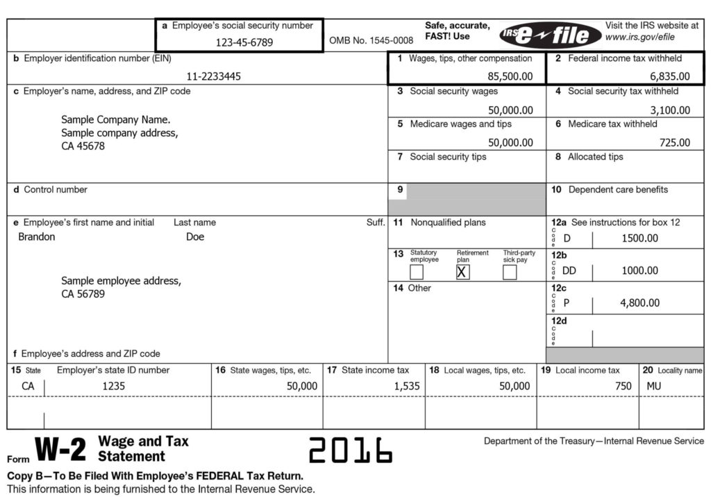 W-2 Form Sample 2016