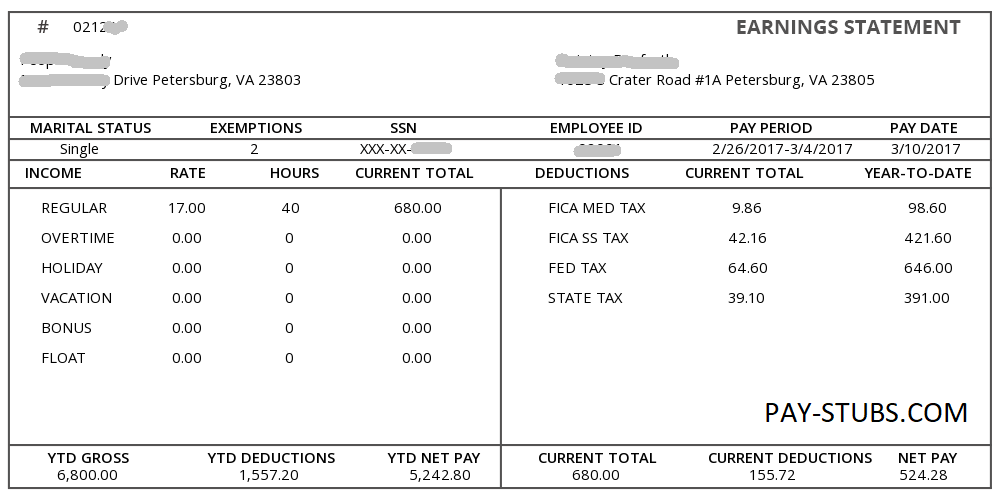 Sample Paycheck Stub Kleobeachfixco - Real pay stub template