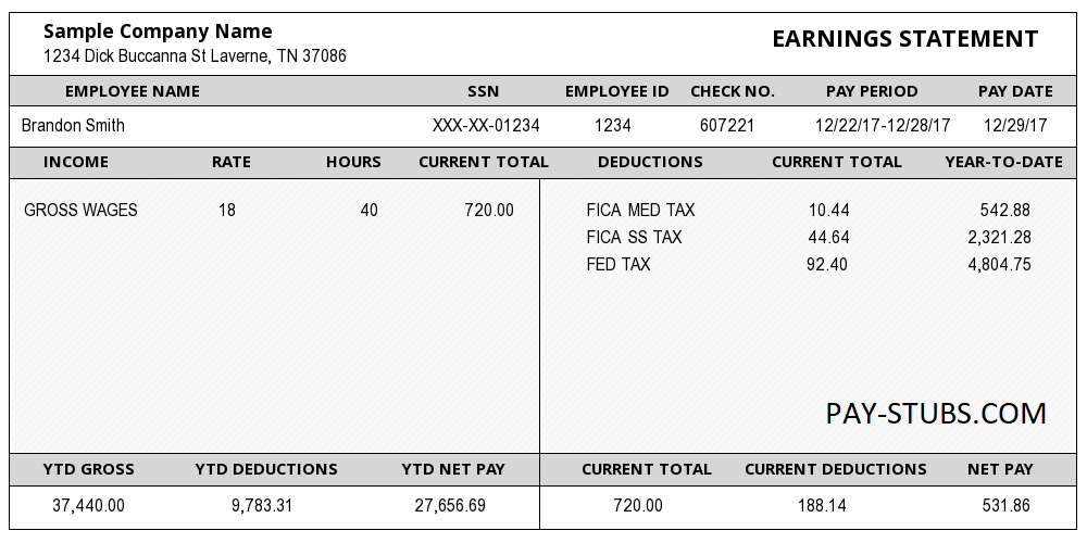 sample of paycheck stub